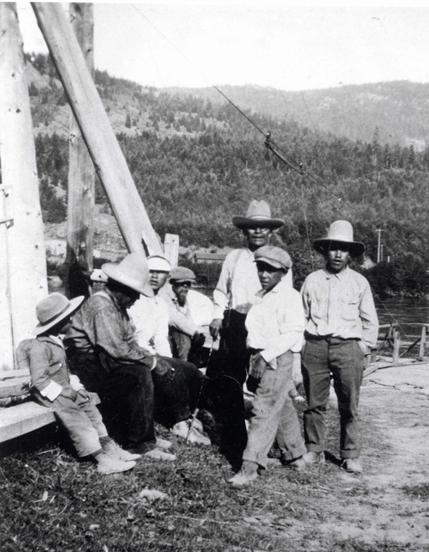 Qelmucw (Native people) at Yehelesten (Little Fort) 1920s: L to R: Louis Matthew, Old Joseph (Moustache), Felix John, Eustache, Antoine Matthew, John Celesta and Harry Sam (Simpcw Archives photo).